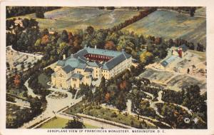 WASHINGTON DC  AEROPLANE VIEW OF  FRANCISCAN MONASTERY~HERMANN ARTCHROM POSTCARD