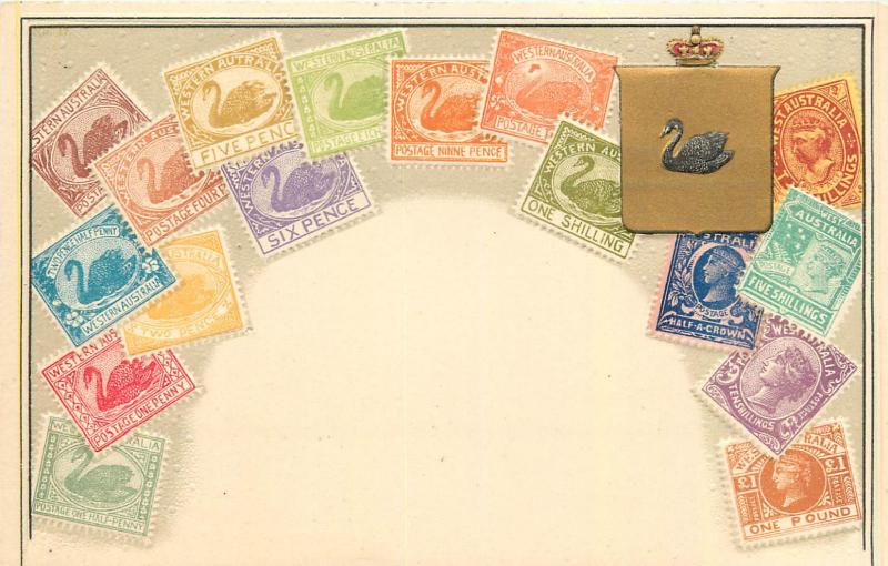 Stamps of Western Australia coat of arms by Ottmar Zieher chromo litho postcard