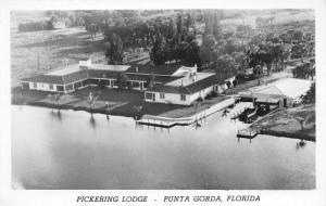 Cleveland-Punta Gorda Florida~RPPC Birdseye~Pickering Lodge~Boat House~1940s PC