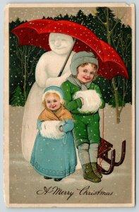 PFB Christmas~Boy & Girl Snuggle Under Snowman's Umbrella~Fur Muffs~Emboss~7119