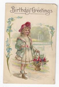 Birthday Greetings Victorian Girl Flower Basket Embossed