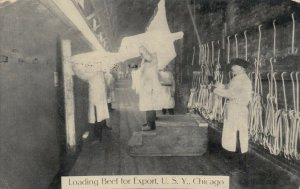 CHICAGO, Illinois, 1911 ; Loading Beef for Export , Union Stock Yards
