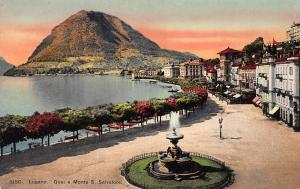 Quay e Monte S. Salvatore, Lugano, Switzerland, Early Postcard, Unused