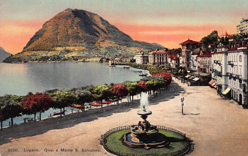 Quay e Monte S. Salvatore, Lugano, Switzerland, Early Postcard, Unused