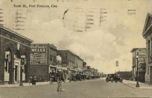 canada, FORT FRANCES, Scott Street, Dominion Bank, Jeweler, Gallo's Cafe (1935)