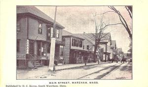 Wareham MA Main Street Storefronts Trolley Tracks Postcard