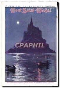 Postcard Old Train Railways of & # 39Ouest Mont Saint Michel