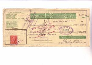 Custom Cheque from Silver Tip Biscuit Co Moncton New Brunswick with a Canada ...
