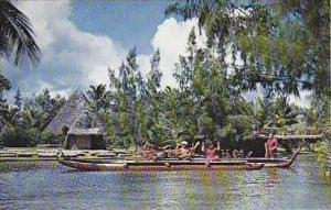 Hawaii Samoan Ladies Performing With Chief in the Pagent of The Long Canoes