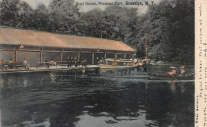 Boat House, Prospect Park, Brooklyn, NY,  Hand Colored Postcard, Used in 1906