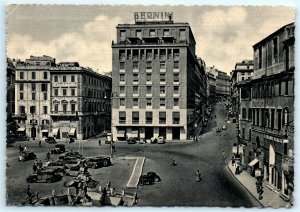 VTG RPPC Real Photo Bernini Hotel Building Roma Old Cars Bank Street View A2