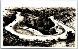 Turner Falls, Oklahoma RPPC Photo Postcard Horseshoe Curve Highway 77 1930s