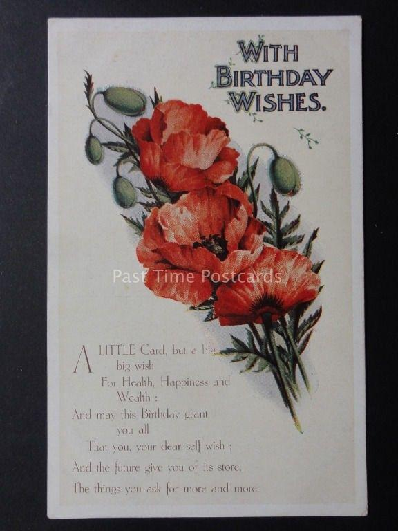 Poppies Postcard With Birthday Wishes Series P B1