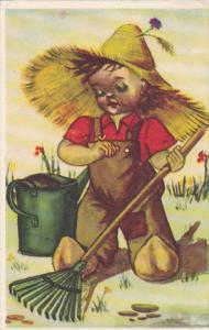 Dutch boy wearing big straw hat raking, water pail, PU-1962