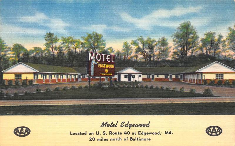 Motel Edgewood, Edgewood, Maryland, early postcard, Unused