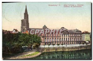 Old Postcard Strassburg castle and cathedral