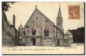 Old Postcard Caen L Eglise Saint Julien West Facade