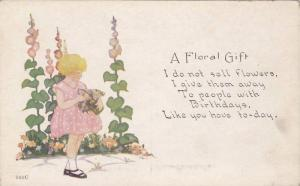 A Floral Gift, To people with Birthdays, Girl in pink dress, 00-10s