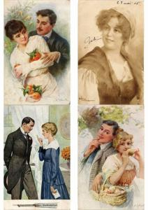 DAMES GLAMOUR LADIES COUPLES Incl. ARTIST SIGNED ILLUSTRATEUR 500 CPA (PART 1.)