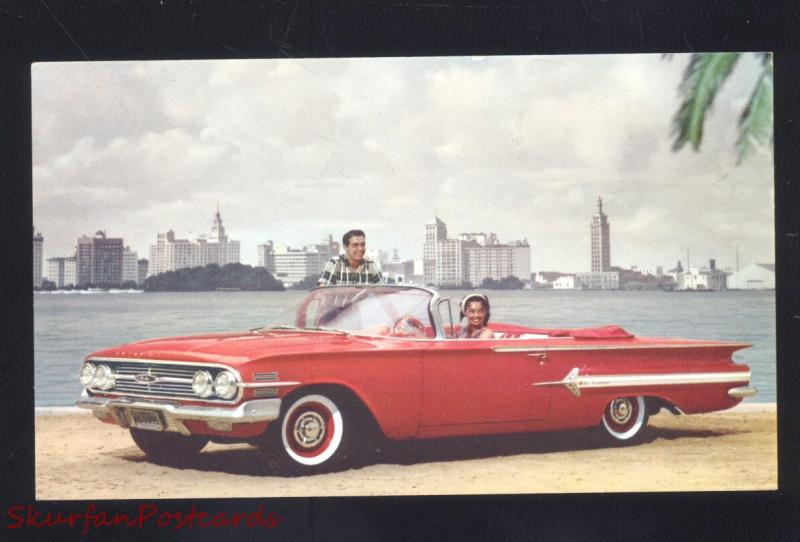 1960 CHEVROLET IMPALA CONVERTIBLE '60 CHEVY CAR DEALER ADVERTISING POSTCARD