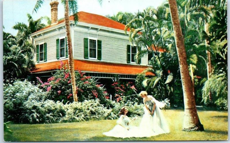 Fort Myers, Florida Postcard EDISON'S HOME Girls in Yard c1960s Chrome Unused
