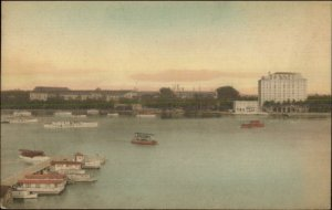 Palm Beach FL Hotel Lake Dock Boats Hand Colored Postcard