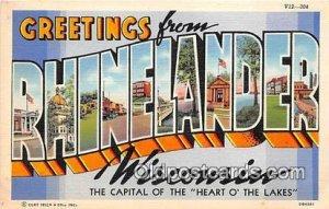 Large Letter Town Rhinelander Wisconsin, USA Unused