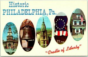 1960s Historic PHILADELPHIA PA Postcard Cradle of Liberty Multi-View Unused