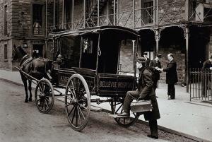 Postcard A Horse Drawn Ambulance Outside Bellevue Hospital New York 1895 54C
