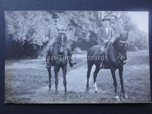 TWO SUITED GENTLEMAN ON HORSES early RP Postcard