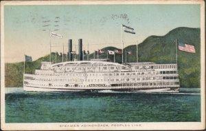 Paddle Boat Steamer Adirondack - Post Card - Used