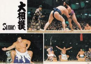 Sumo Wrestler Wrestling Yakozuna No Dohyoiri  Japan Japanese Fight Postcard