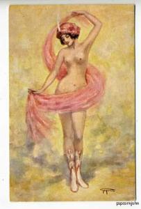 Beautiful Signed Gayac Nude Ballerina Postcard