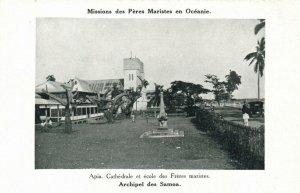 PC CPA SAMOA, PACIFIC, APIA, CATHÉDRALE ET ÉCOLE, Vintage Postcard (b19436)