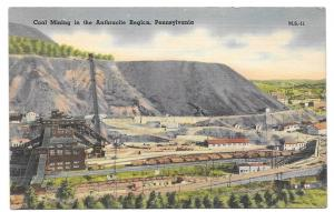 Anthracite Coal Mining Region PA Mebane MS 11 Linen Postcard