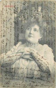 Woman hope ( Remeny ) Hungary circa 1908 postcard correspondence Kolozsvar Cluj
