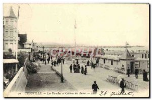Old Postcard Trouville boards and booths baths