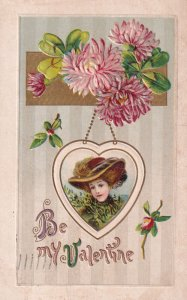 VALENTINE, PU-1912; Picture of woman in heart shaped frame, Pink Hydrangea Fl...