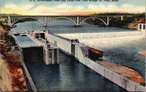 Minnesota St. Paul U.S. Government Dam  Locks Ford Bridge LINEN POSTCARD