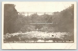 nr Paynesville MN~Short Wagon Thru Truss Bridge Over Bed~Haugen RPPC c1910