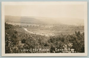 Sparta WI~Long Line of Vehicles or Structures on Range Camp McCoy~RPPC c1928