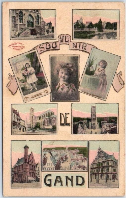 1910s Ghent, BELGIUM Postcard SOUVENIR DE GAND Hand-Colored Multi-View