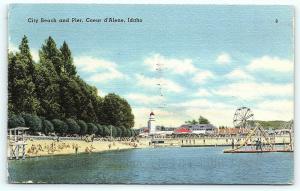 Postcard ID Coeur D'Alene City Beach & Pier Amusement Park  A16