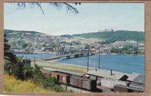 P1346 unused railroad postcard freight train, station le de gaspe quebec canada
