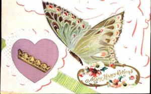 BEAUTIFUL BUTTERFLY & FLOWERS~MIX MATERIALS GREETING-ART MFG~AMELIA OH POSTCARD