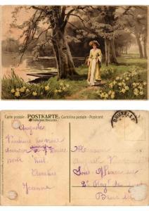 CPA Ein Magdleinging spazieren Meissner & Buch Litho Serie 1469 (730455)