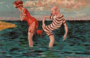 DONADINI ;  Crab pinches two beathers at beach , 1908
