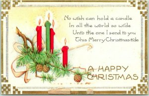 1920s Whitney A HAPPY CHRISTMAS Embossed Greetings Postcard / Candles Unused