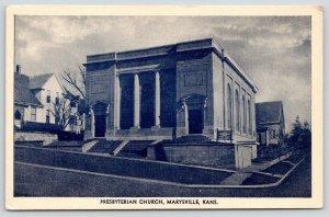 Marysville Kansas~Presbyterian Church~House Down Street~Home Uphill~1930s B&W