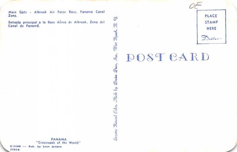 Panama Old Vintage Antique Post Card Main Gate, Albrook Air Force Base Panama...
